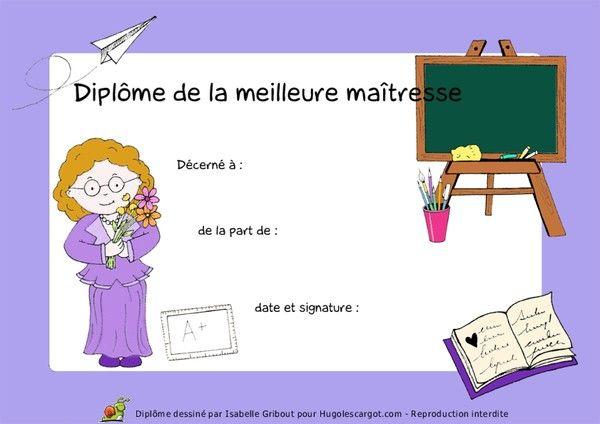 Diplome maitresse - Coloriage de maitresse ...