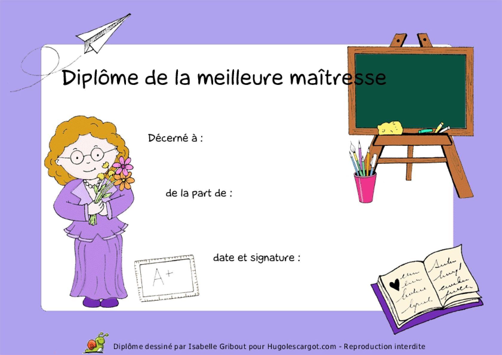 Diplome - Coloriage pour la maitresse ...